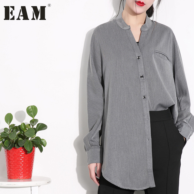 [EAM] 2018 new  Spring  solid color stand collar long sleeve loose big size  shirt women fashion tide J94002XS