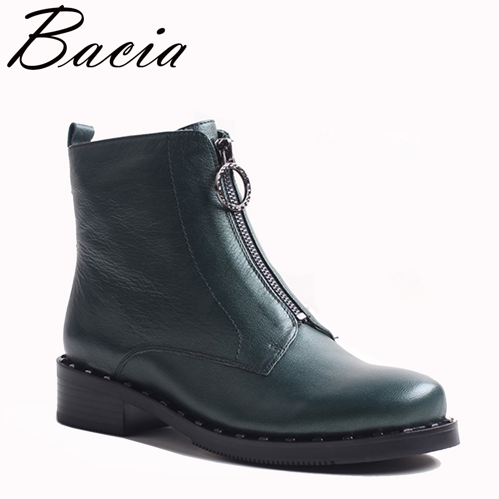 Bacia Genuine Leather Boots Short Plush Women Shoes Simple Style Ankle Boots With Zipper Handmade High Quality Shoes VXA028 bacia genuine leather boots short plush women shoes black simple style ankle boots with zipper handmade high quality shoes vd021