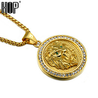 HIP Hop Rock Gold Plated Stainless Titanium Steel Iced Out Lion Head With Green Eye Pendants