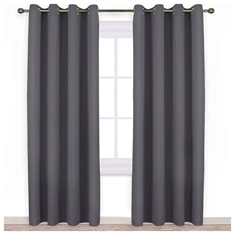 Blackout Curtain Panels for Bedroom Three Pass Microfiber Noise Reducing Thermal Insulated Solid Ring Top Blackout Window Drapes in Curtains from Home Garden