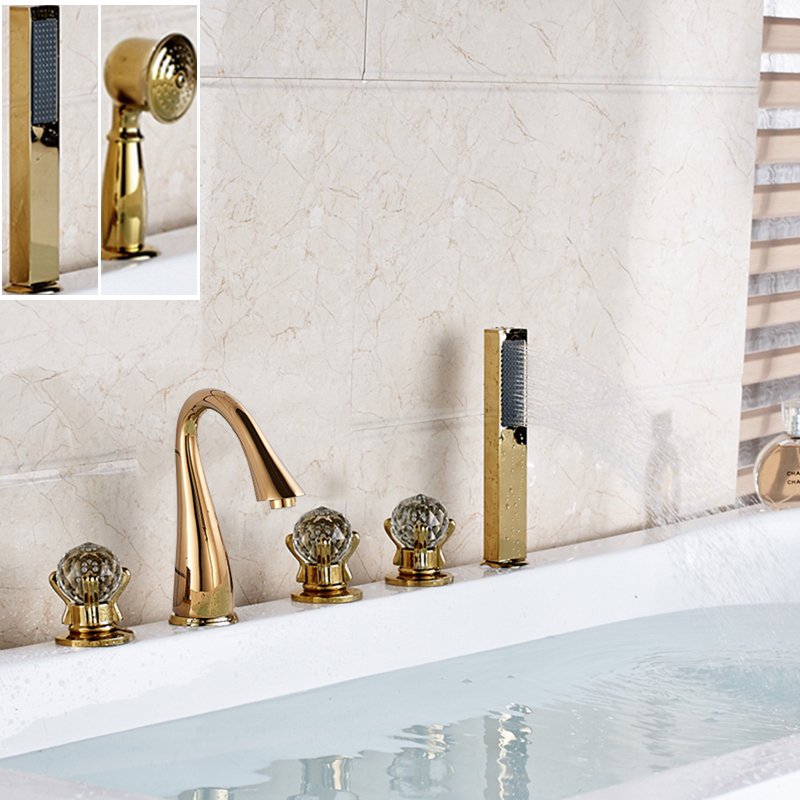 Golden Brass Bathroom Tub Faucet 5 PCS W Hand Shower Sprayer Mixer Tap