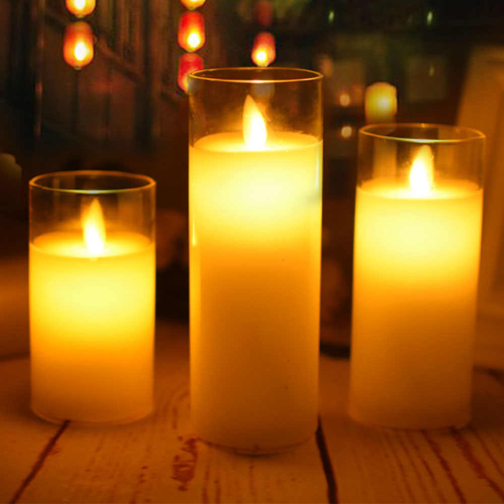 Flameless LED Candle Lamp Swing Move Lifelike Smokeless Electronic Candles For Wedding Decoration Romantic glass candle cup