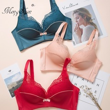 MengShan 3.5 cm thick Small chest gathers bra Lace stitching Sexy Gathering Underwear Thickening cup underwear women