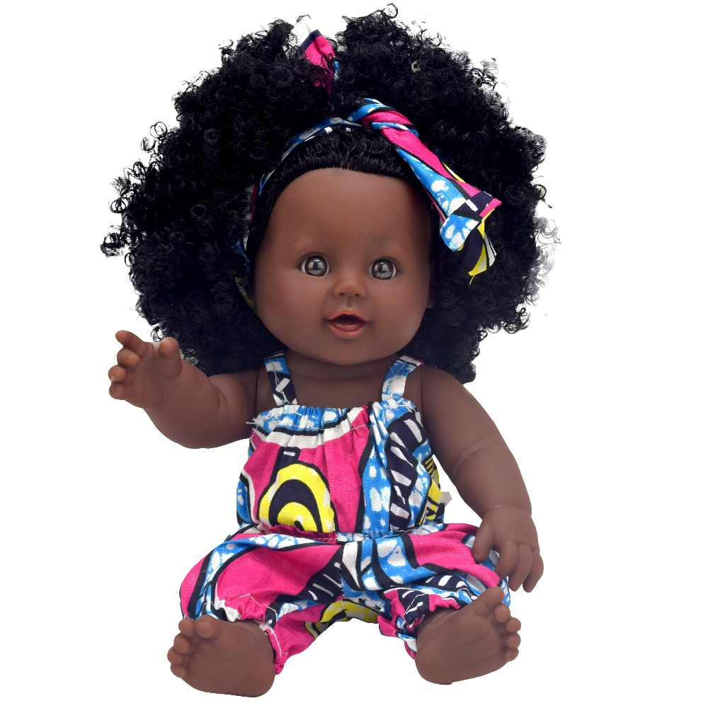 African Black Baby Doll Reborn Girl 12inch Yellow Boneca Corpo Inteiro De Silicone Reborn Baby Dolls Pop Lifelike  Children