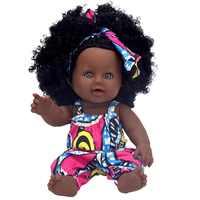 Africano nero baby doll reborn ragazza 12 pollici giallo boneca corpo inteiro de silicone bambole del bambino rinato pop realistico bambini