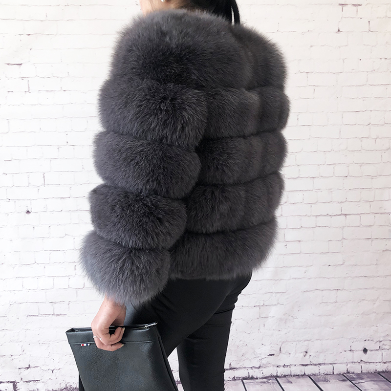 2019 new style real fur coat 100% natural fur jacket female winter warm leather fox fur coat high quality fur vest Free shipping 34