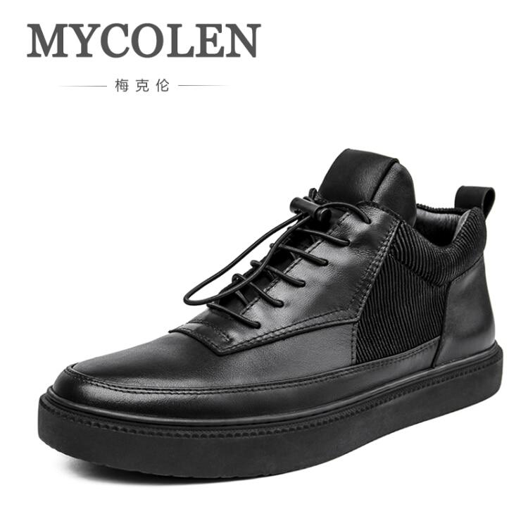 MYCOLEN 2017 Men Boots Male European Style Lace-Up Cowhide Shoes With High Elastic Black Retro Design Men's Shoes Botas black spaghetti lace up design vest