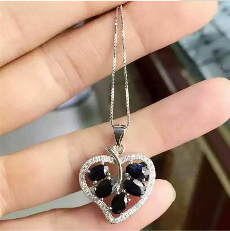 Sapphire necklace pendant Free shipping Natural sapphire pendants 925 sterling silver jewellery 4*6mm*5pcs gems цена и фото