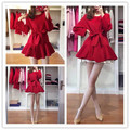 New Vintage Women Trench Coat Ruffles Elegant Wind Hem Cloth +lt Exceeds 9183 Coats Red 6523