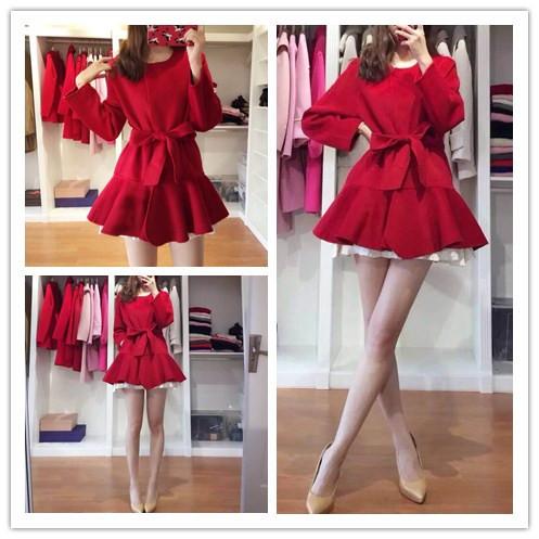 Nueva Capa de Foso de Las Mujeres de La Vendimia Volantes Elegante Viento Dobladillo Paño + lt Excede 9183 Abrigos Rojo 6523