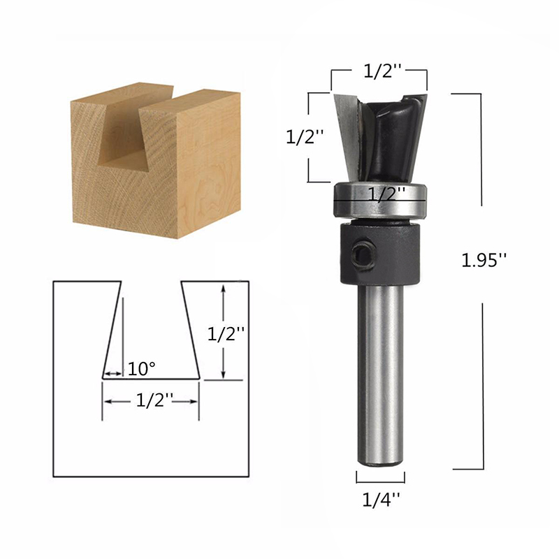 """1 Pc 10 Grad Schwalbenschwanz Gemeinsame Router Bit Mayitr 1/4 """"hartholz Cutter Mit Lager Für Power Tool Attraktive Mode"""
