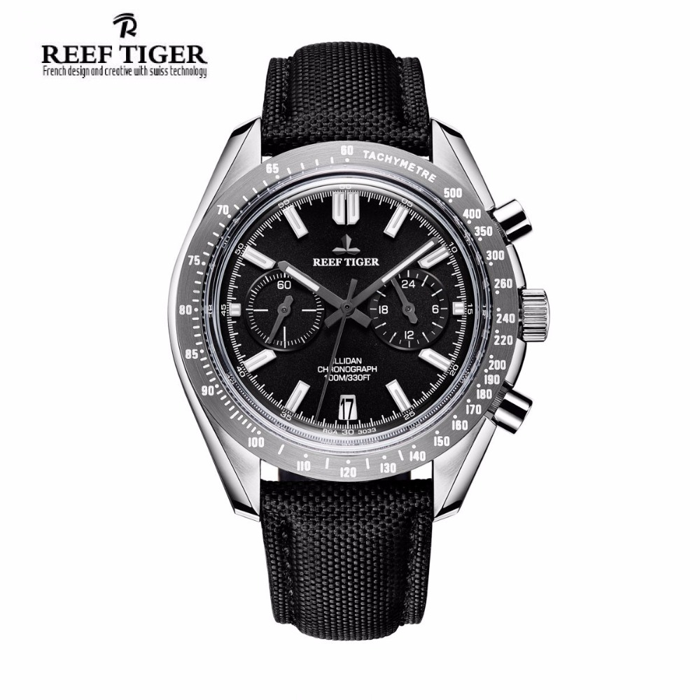 Reef Tiger Brand Luxury Mens Watches Sport Chronograph Date Waterproof Super Luminous Nylon Strap Quartz Watch Relogio Masculino reef tiger brand men s luxury swiss sport watches silicone quartz super grand chronograph super bright watch relogio masculino