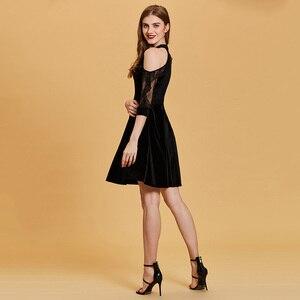Image 5 - Dressv nero vestito da cocktail a buon mercato scoop neck una linea senza maniche zipper up abiti di laurea vestito da partito elegante vestito da cocktail di modo
