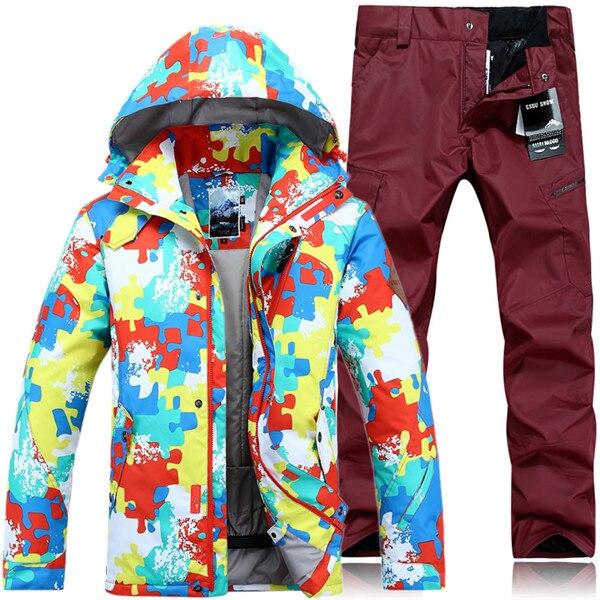 3ff6b55fde Dropwow GSOU SNOW Brand Ski Suit Men Winter Ski Jacket Pants ...