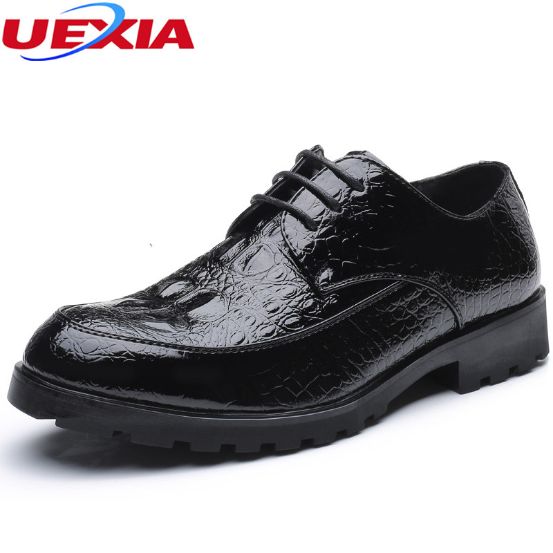 UEXIA Business Wedding Sress Increase Soles Flats Men Shoes Business Formal Wedding Dress Shoes Mens Oxfords Moccasins Casual