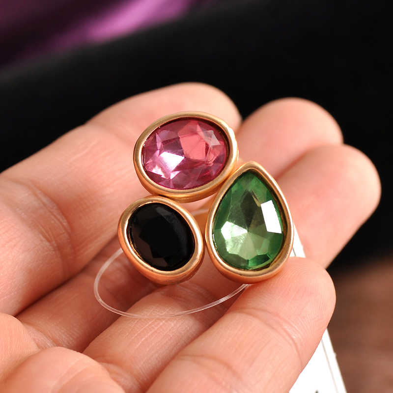 Hot new fashion female jewelry wholesale, girls birthday party, beautiful pink, black and green with luxury Ring Gift SETS