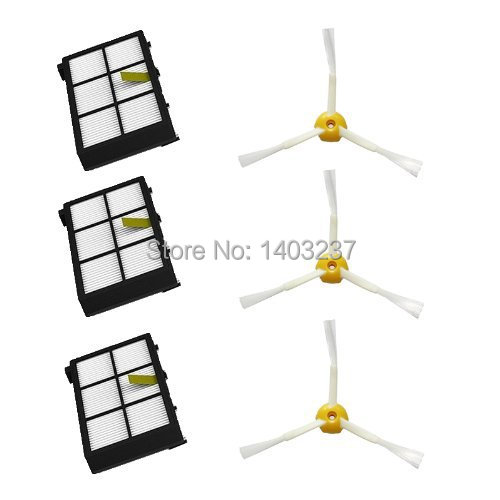 3 pack HEPA Filter & 3 armed Side Brush For iRobot Roomba 800 series 870 880 900 series 980 Vacuum Cleaner Accessory Kit 3 filters 3 side brush 3 armed vacuum cleaner accessory kit for irobot roomba 500 series 530 540 550 560 570 580 610