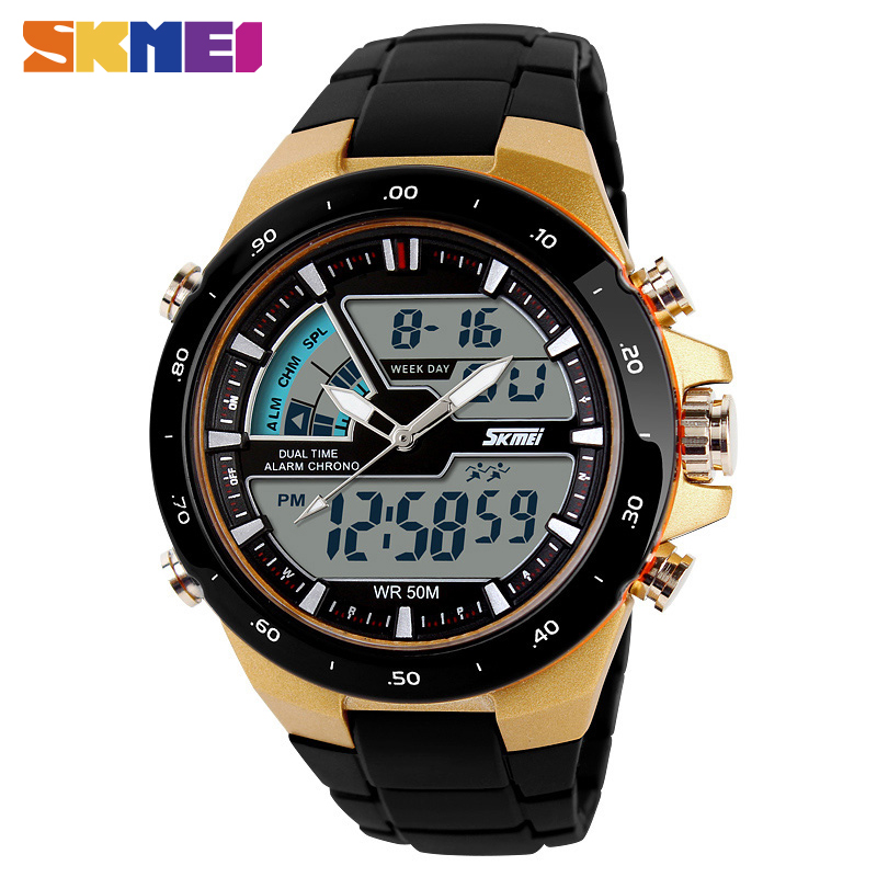 SKMEI 1016 Men Sport Dual Display Digtial Watch Chronograph Alarm LED Wristwatches Quartz 30m Waterproof Clock
