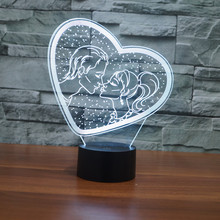 цена 3D led 7 Color USB Heart-LOVE Table Lamp Luminaria Led Night Light Remote Switch Decorative lighting Mood Lamp Valentine's Day онлайн в 2017 году