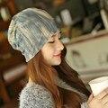 Adult Leopard grain casual hat female cotton double sleeve head keep warm scarf Lady autumn winter wear