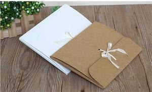Image 3 - 30 pçs/lote grande kraft foto envelope embalagem caso de papel branco presente envelope para lenço de seda com fita caixa de envelope cartão postal
