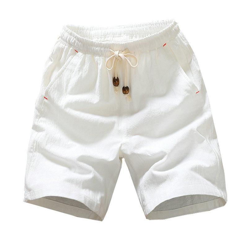 2020 Summer New Cotton Shorts Loose Men's Casual Shorts Black White Drawstring Waist Solid Bermuda Shorts Men Plus Size 4XL 5XL