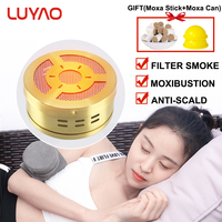LUYAO Copper Portable Smokeless Moxibustion Box Moxa Stick Burner Body Home Health Care Moxa Tank With Bag Waist Neck Massager