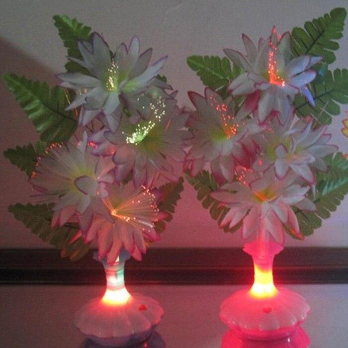 1 PC New LED Artificial flower Optical Fiber Lamp Flower Calla Lily Vase Night Light Decoration for Home Party Decor - Цвет: Бежевый
