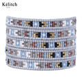 Kelitch Bohemia Beautiful Women Bracelets 1Pcs Handmade Seed Beads Leather Multilayers Strand Cuff Bracelet For Summer Bijoux