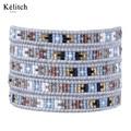 Kelitch Bohemia Mulheres Bonitas Pulseiras 1 Pcs Semente Handmade Beads Bijoux Multicamadas Vertente Manguito Pulseira de Couro Para O Verão