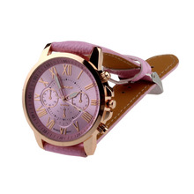 New Women's Fashion Clock Geneva Roman Numerals Watches Faux Leather Analog Quartz Wrist Watch