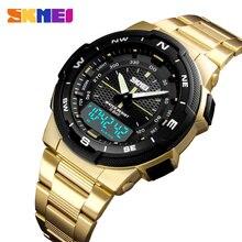Спортивные часы для мужчин Лидирующий бренд Модные Повседневные часы Роскошные сталь бизнес непромокаемые часы мужской часы Relogio Masculino SKMEI
