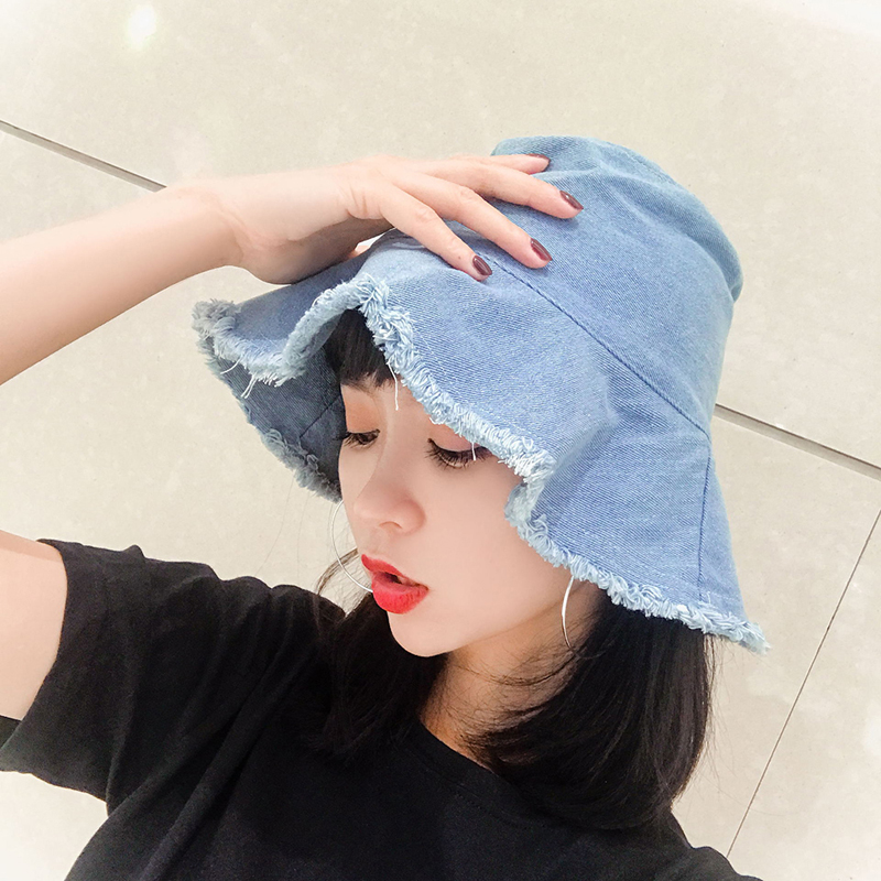 Fashion Denim Solid Color Bucket Hat For Women Ladies Wide Brim Beach Bucket Hats Female Foldable Hat Decoration Accessories
