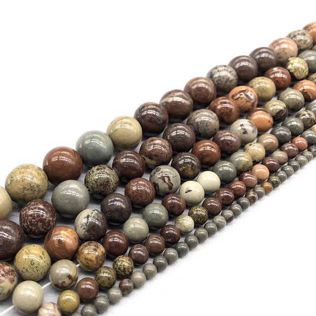 Prix usine naturel image rouge herbe et Jaspers de fleurs rondes perles en vrac 15