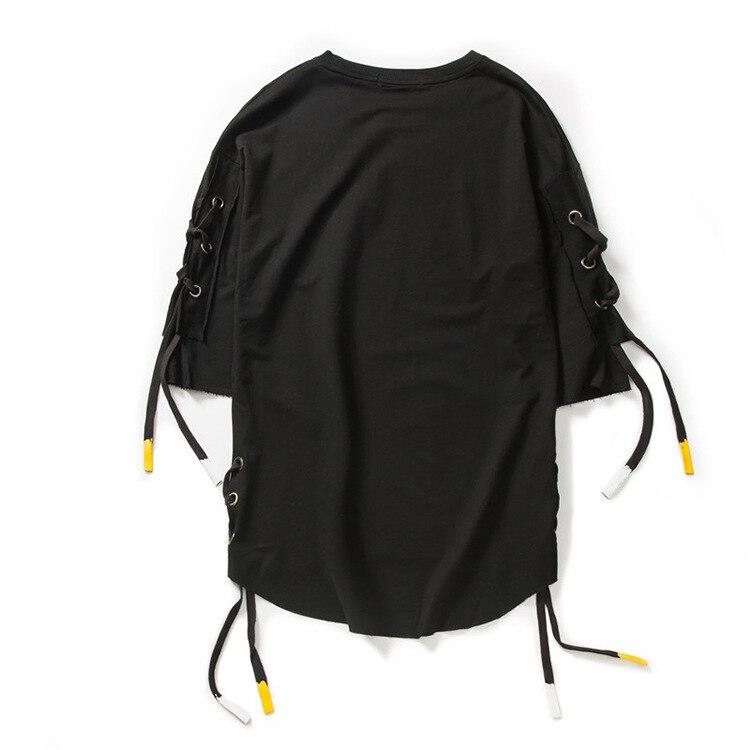 ABOORUN Men's Hip Hop T-shirt Rule Ribbons Decoration Printed Tees High Street Original Loose Short Sleeve Shirts for Male R149 26
