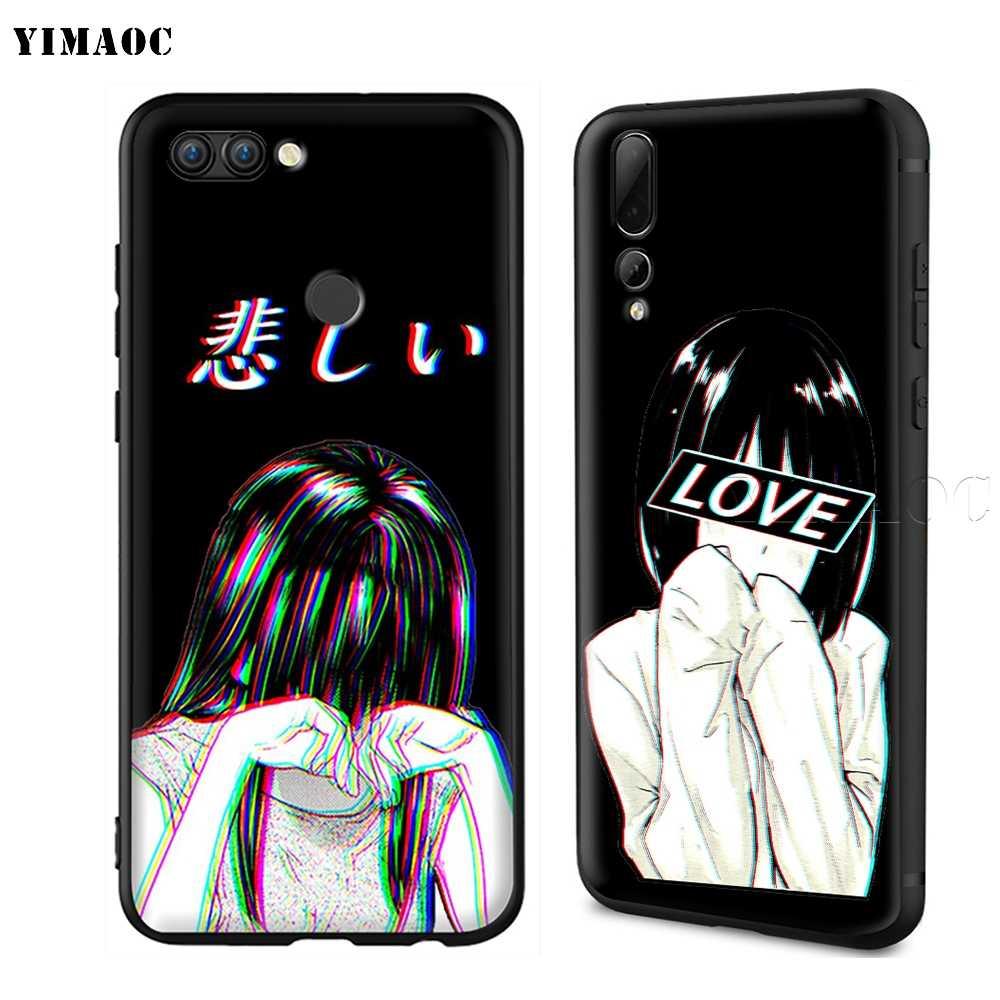 YIMAOC LEWD Sad Japanese Anime Aesthetic Silicone Case for Huawei Mate 10 P8 P9 P10 P20 Lite Pro P Y7 Y9 Smart Mini 2017 2018