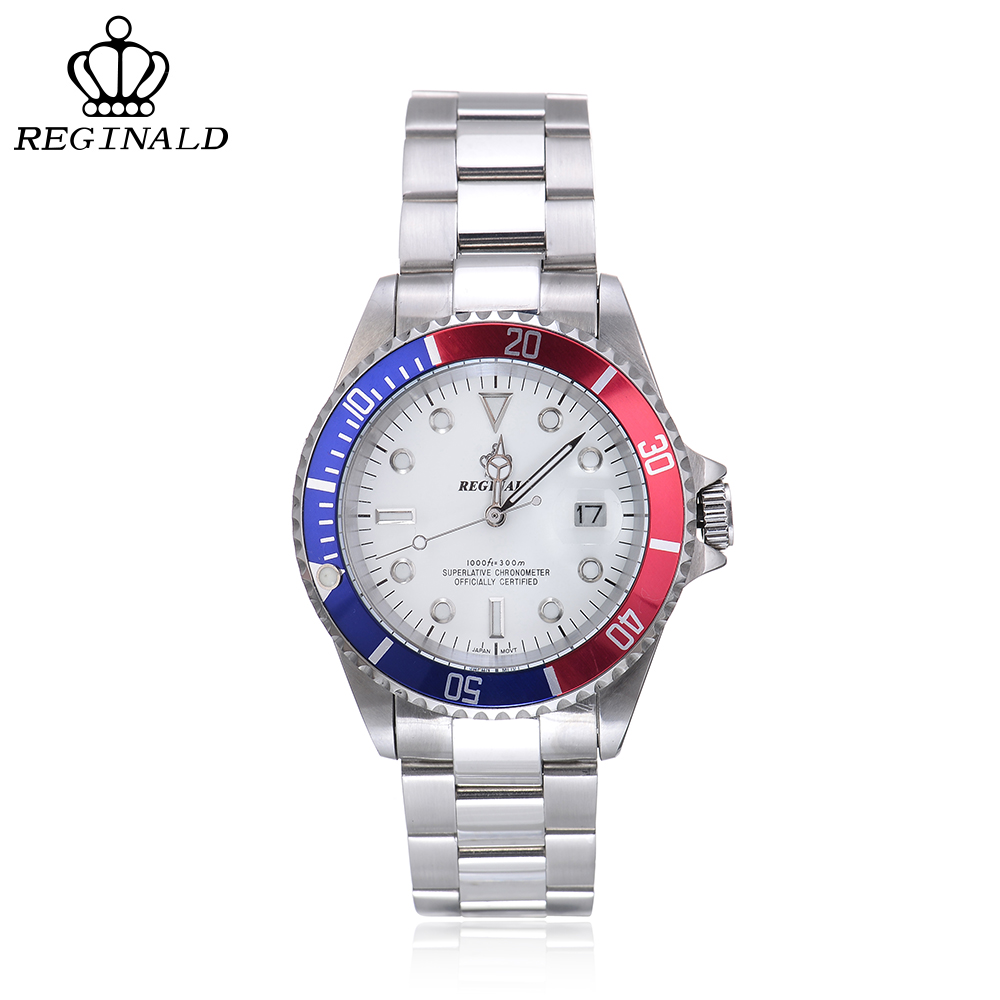 REGINALD Sapphire Crystal Mens Watches Top Brand Luxury Watch Men Complete Calendar 316L Stainless Steel Relogio Masculino cadisen top new mens watches top brand luxury complete calendar 3atm sport watches for men clock stainless steel horloges mannen