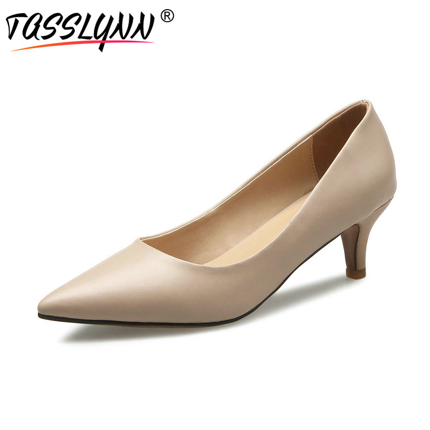 TASSLYNN 2018 Woman Pumps Spring and Autumn Office Lady Slip on Pumps Pointed Toe OL Thin High Heels Women Shoes Size 34-43 xiaying smile woman pumps british shoes women thin heels style spring autumn fashion office lady slip on shallow women shoes