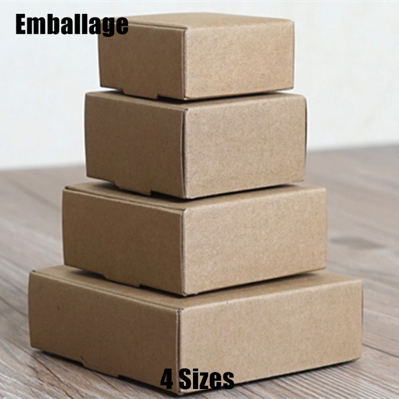 4 Sizes Kraft Paper Boxes Brown Gift Boxes for Jewelry Candy Chocolate Classic Packaging Wholesale 10pcs/lot PP800