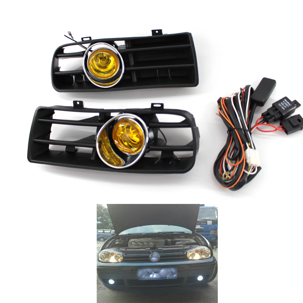 Front Bumper Grill Yellow Fog Light Lamp Grille for VW Golf MK4 97 03 03 02 Car