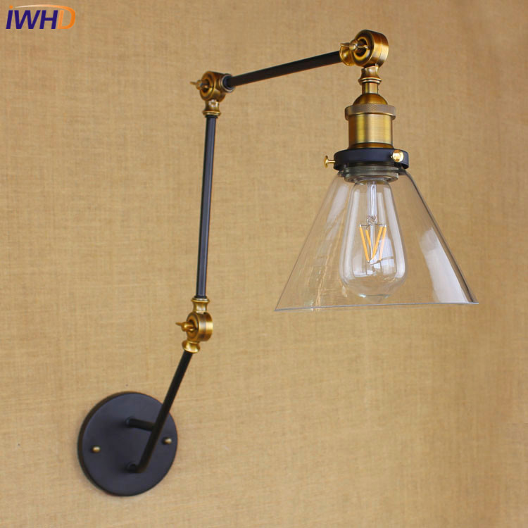 IWHD Loft Style Industrial Wall Sconce Lamp Led Retro Swing Arm Glass Wall Lights For Home Lighting Stairs Luminaria De Pareda top grade wood handcrafted swing arm light sconce led wall lamp nordic style home decoration lighting e27 black with switch