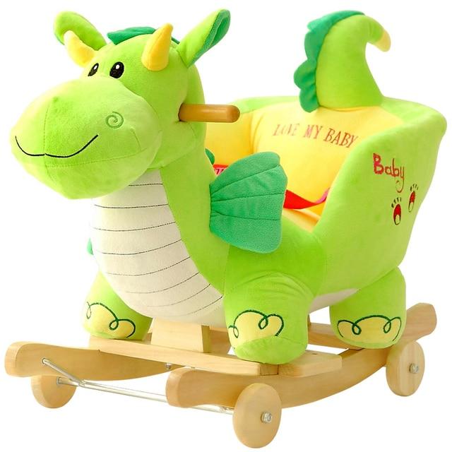 Cheval à Bascule Mignon Dragon Vert Bébés Enfants
