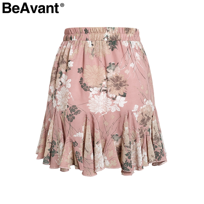 BeAvant Bohemian print summer skirts womens Ruffle pleated floral short boho skirt female High waist chiffon beach mini skirt 8