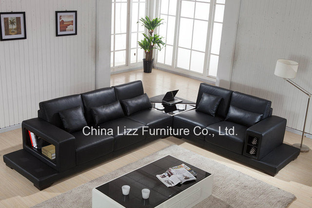lizz modern leather sofa living room sofa with a corner table will