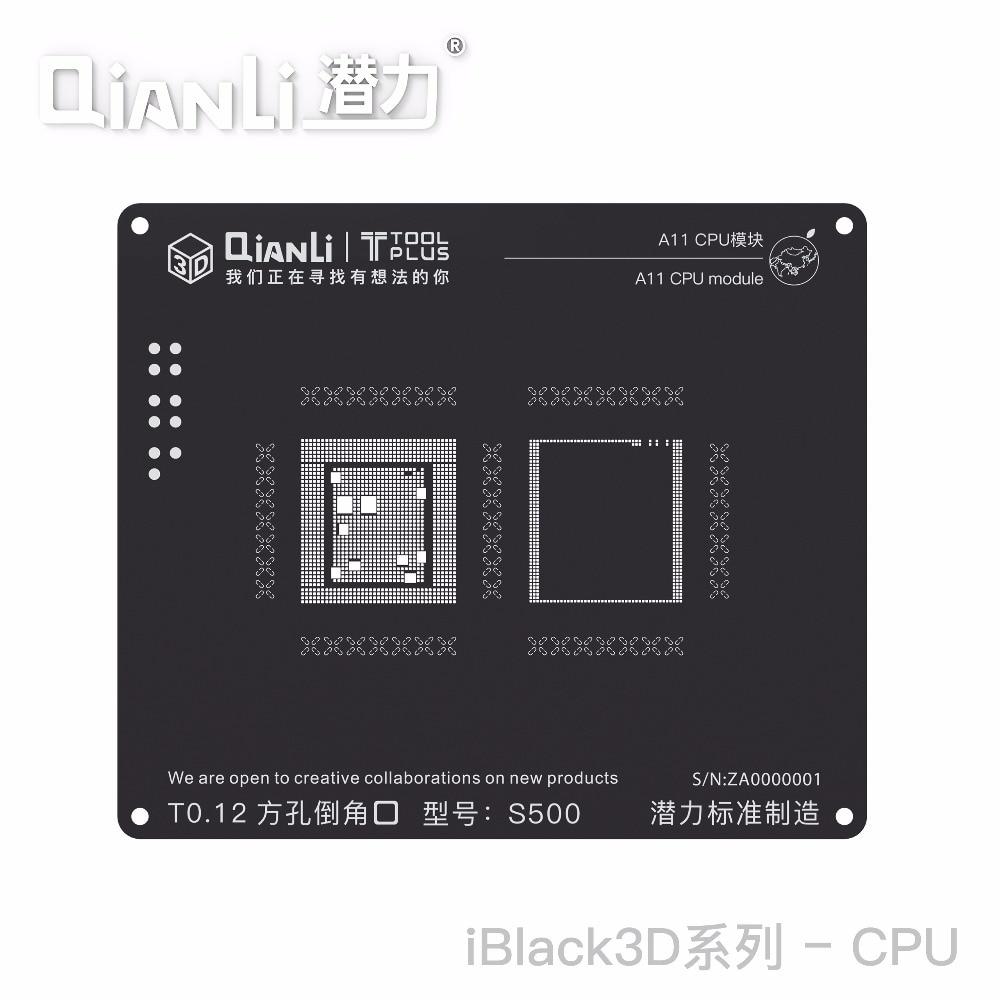 3D QianLi CPU A11/A10/A9/A8/A7 RAM 3D Reballing Estêncil Preto de Aço Planta Estanho net Para o iphone/8 Plus 8/7/6 S/6 s Plus 6/5S
