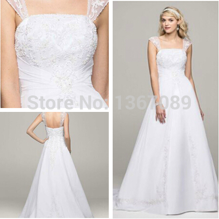 16fc908562479 Free Shipping Custom Made Graceful A-line Scoop Cap Sleeve with Chiffon  Split Front Overlay Style V9010 Wedding Dresses