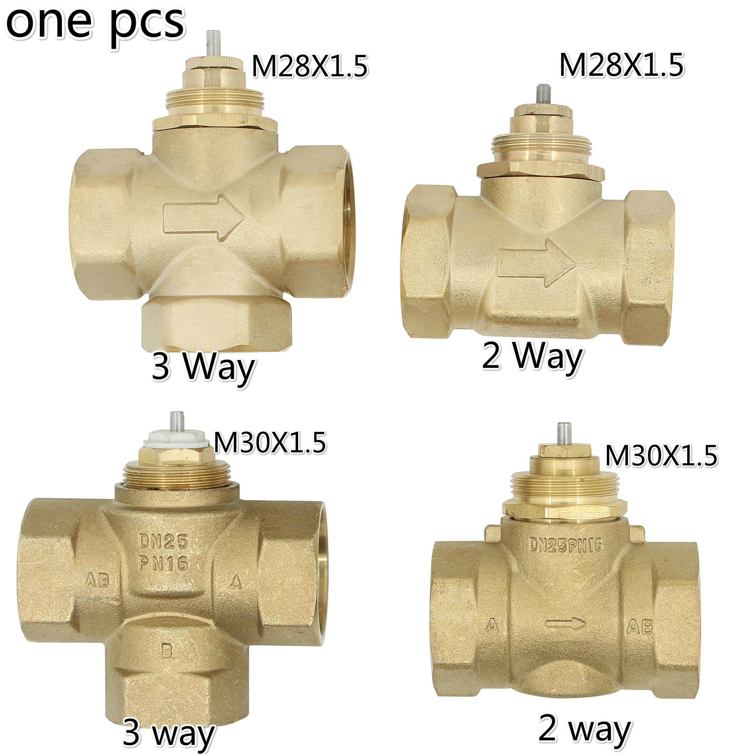 Brass Three-way Valve Two-way Valve DN15 DN20 DN25 M30X1.5 M28X1.5