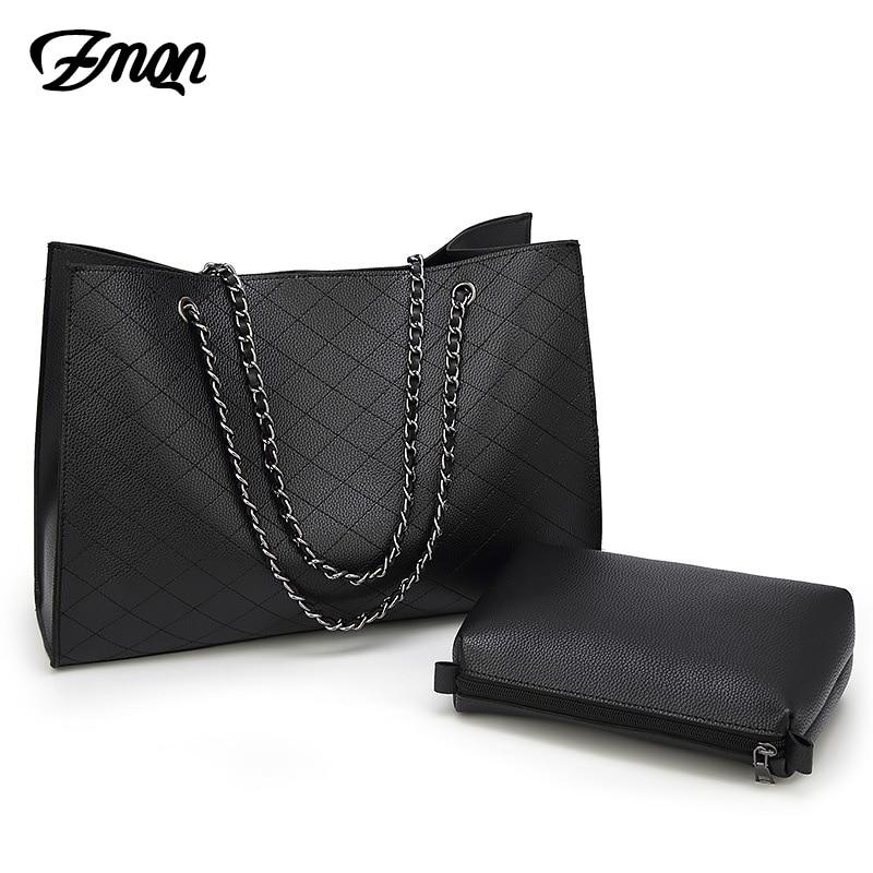 ZMQN Leather Bags For Women 2019 Luxury Handbags Women Bags Designer Big Tote Hand Bag Chain Leather Handbag Set Bolsa Feminina