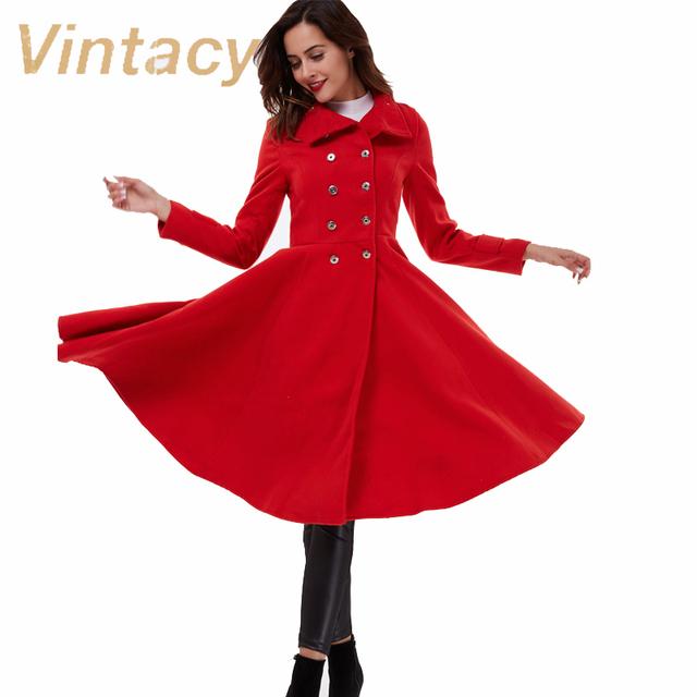 Vintacy abrigo moda vintage rojo caliente del otoño mujeres abrigos señora de la oficina delgada capa larga ocasional 1950 s abrigo de la mujer femenina prendas de vestir exteriores