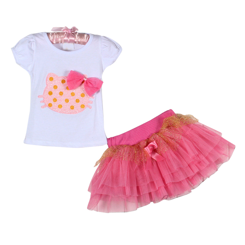 Sodawn Girls clothing sets cartoon T-shirt + tutu skirt kids clothing baby girls set